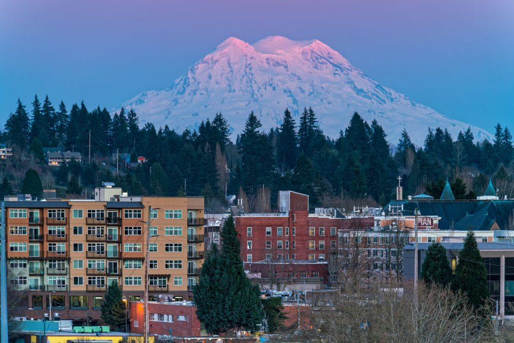 Olympia, WA with Mount Rainer in the background
