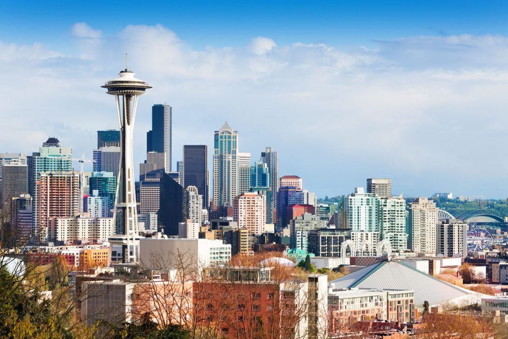Seattle downtown buildings panorama view from Queen Anne hill, Washington, USA
