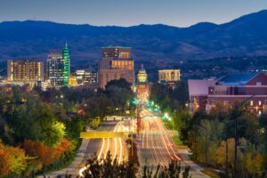 Boise downtown at twilight